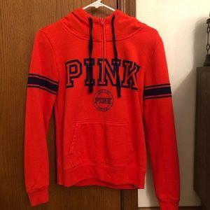 PINK hooded quarter zip sweatshirt